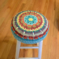 Crochet Stool Cover Granny Square Shabby Chic Cottage
