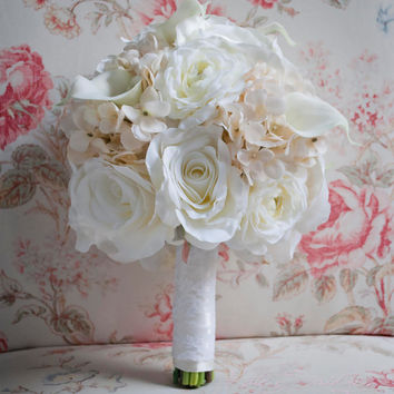 Shabby Chic Wedding Bouquet - Ivory Rose Ranunculus Hydrangea Wedding Bouquet