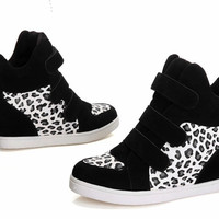 Autumn Wedge High Heels Sneakers Women Height Increasing Shoes Woman Fall Leather PU Sneaker Ladies Leopard Shoe Velcro