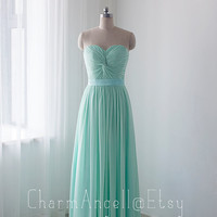 Simple bridesmaid dress, mint long prom dress, chiffon formal dress