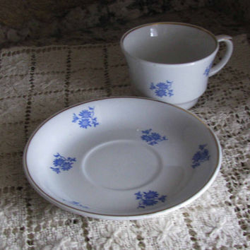 Vintage Arabia Made in Finland Blue Cornflower, Teacup and Saucer, 1940's, Perfect For Any Tea Lover