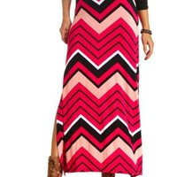 Chevron Print Double Slit Maxi Skirt by Charlotte Russe - Coral