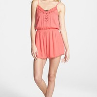 Junior Women's Lush 'Cali' Lace Trim Romper
