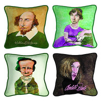 DECORATIVE LITERARY CARICATURE PILLOWS | famous authors, shakespeare | UncommonGoods