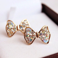 Glittering Bow Ties Rhinestone Earrings