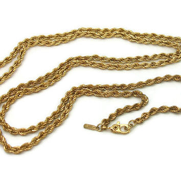 Vintage Monet Gold Tone Rope Chain Necklace - 1/8 inch 30 inch long Twisted Chain Everyday Necklace Signed Monet