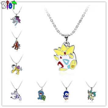 8 style  go choker necklace anime cartoon bead chain alloy pendant cute gift for child fans charms jewelry  Kawaii Pokemon go  AT_89_9