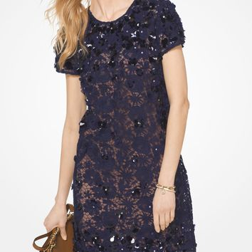 Floral Appliqué Lace Shift Dress | Michael Kors