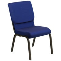 HERCULES Series 18.5''W Navy Blue Patterned Fabric Stacking Church Chair with 4.25'' Thick Seat - Gold Vein Frame