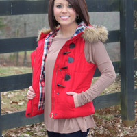 Let's Take an Adventure Puffer Vest-Red
