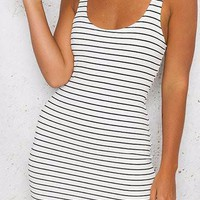 White Striped Scoop Neck Sleeveless Bodycon Dress