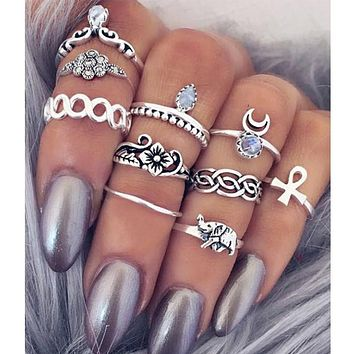 10pcs/Set Bohemian Flower Midi Ring Sets for Women Silver Color Boho Beach Vintage Turkish Punk Elephant Knuckle Ring R00411