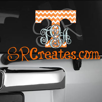 Tennessee Monogram Decal - Glitter Vinyl or Regular Vinyl