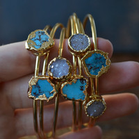 ATLAS STACKS /// Lux Divine Bangle Style Gemstone Bracelet /// Gold dipped /// Turquoise or Druzies