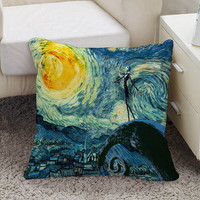 jack skellington nightmare before christmas meets starry night Square Pillow Case Custom Zippered Pillow Case one side and two side