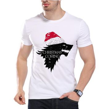 Game Of Thrones Men T Shirts Christmas ice wolf Funny Jon Snow