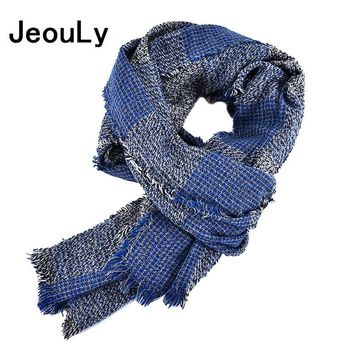 Jeouly New Arrival tartan Bufandas Mens Scarves Fashion Brand Plaid Scarf Spring Autumn Warm Soft Shawls Cotton Tassel Scarves