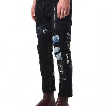 BLACKFIST - Patchwork Denim Jeans - BF X EE SHREDDED PATCHWORK1 BK - H. Lorenzo