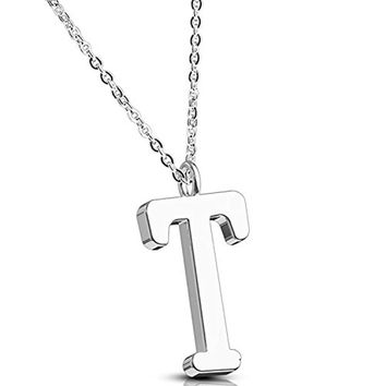 BodyJ4You Necklace Letter T Initial Alphabet Charm T Stainless Steel Chain