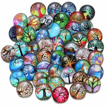 50pcs/Lot Mixed Pattern Various of Themes Pattern Glass Charms 18mm Snap Button Charms For 18mm Snaps Bracelet Snap Jewelry