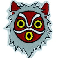 Princess Mononoke San Wolf Mask Patch Iron on Applique Alternative Clothing Anime
