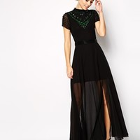 Frock and Frill Maxi Dress with Jewelled High Neck