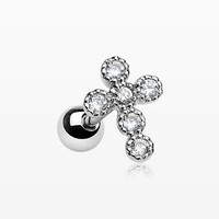 Sparkle Bubble Cross Cartilage Tragus Barbell