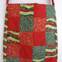 Holiday patchwork tote bag