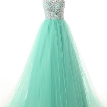 Dressystar Lace Prom Dresses Straps Bridesmaid Ball Gowns with Buttons on Back