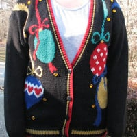 Tacky Christmas sweater, christmas sweater, Christmas, tacky christmas sweater party, tacky sweater, christmas orinaments, orinaments