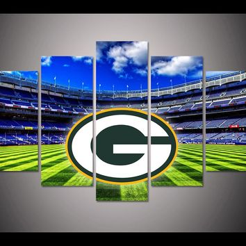 5 Panel Green Bay Packers Canvas ManCave Art