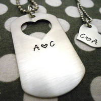 Initials Deployed Military Dog Tag Couples Necklaces Hand Stamped Silver Stainless Steel