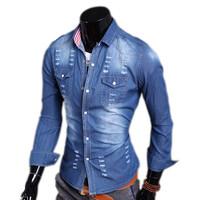 Ripped and Bleached Style Men's Casual Denim Shirt