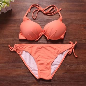 PEAPIX3 Women Neon Push UP Swimwear Vintage Swimsuit Bikinis Set Top and Bottom = 1955894724