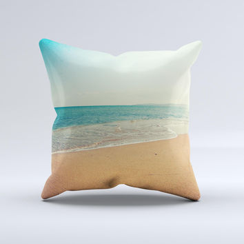 Vintage Beach Scene Ink-Fuzed Decorative Throw Pillow