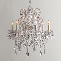 Manor Court Crystal 6-Arm Chandelier Vintage White