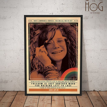 Janis Joplin- Quote Retro Poster - Music Legends Series