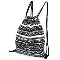 Women Canvas Drawstring Backpack