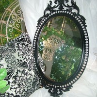 Ornate Black Mirror, Goth Victorian ,Paris Apt ,Hollywood Regency, Wall Mirror 32 x 17 OR Chalkboard ,Choose Color