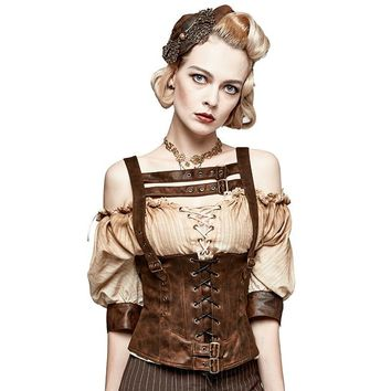 Steampunk Gothic Women Halter Corset Vest Accessories Camisole Sleeveless Sexy Backless