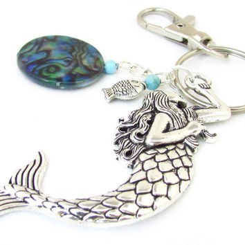 Mermaid Keychain, Mermaid Key Chain, Shell Keychain, Car Accessory, Fish Keychain, Abalone Shell Keyring, Beach Accessory