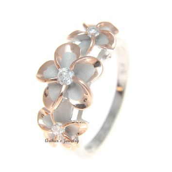 STERLING SILVER 925 HAWAIIAN FANCY 3 PLUMERIA FLOWER RING RHODIUM PG SIZE 3 - 10
