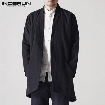 Autumn Chinese Style Men's Jackets Coat Cardigan Coat Long Jackets Vintage Windbreaker Hombre Black Trench Outwears Men Clothes