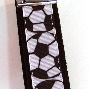 ON SALE, Ribbon Key Fob, Soccer Ball Wristlet, Sports Key Chain, Soccer Key Fob, Sports Key Ring