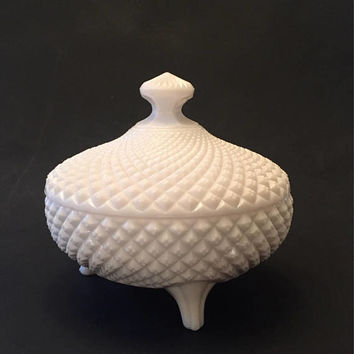 English Hobnail Milk Glass Footed Candy Dish, Westmoreland Quilted Milk Glass Covered Boel, Footed Bowl