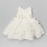 Pretty Me Off-White Tiered Eyelet Dress - Infant & Toddler | zulily