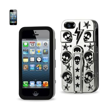 Reiko REIKO IPHONE SE/ 5S/ 5 HYBRID SKULLS CASE WITH KICKSTAND IN BLACK