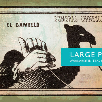 Mexican Shadow Puppet Show Print El Camello Decor Giclee Print on Cotton Canvas and Satin Photo Paper Poster Home Wall Art