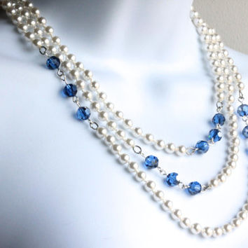 "Majorica Pearl and Swarovski crystal necklace - 60""    Bridal Jewelry.  One of a kind."