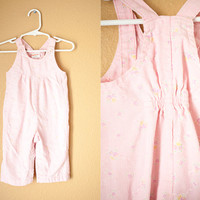 Vintage 80s Girls Overalls | Pink Corduroy Pants Toddler Overalls Baby Girl Floral Retro Baby Clothes Hipster Romper Kids Childrens Winter